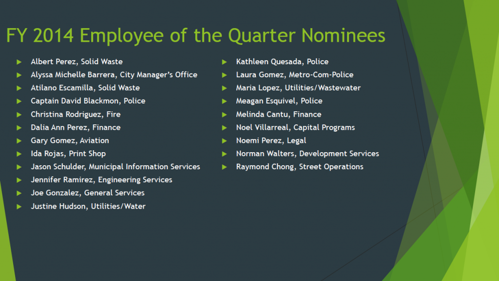 Employee of the Quarter Nominees