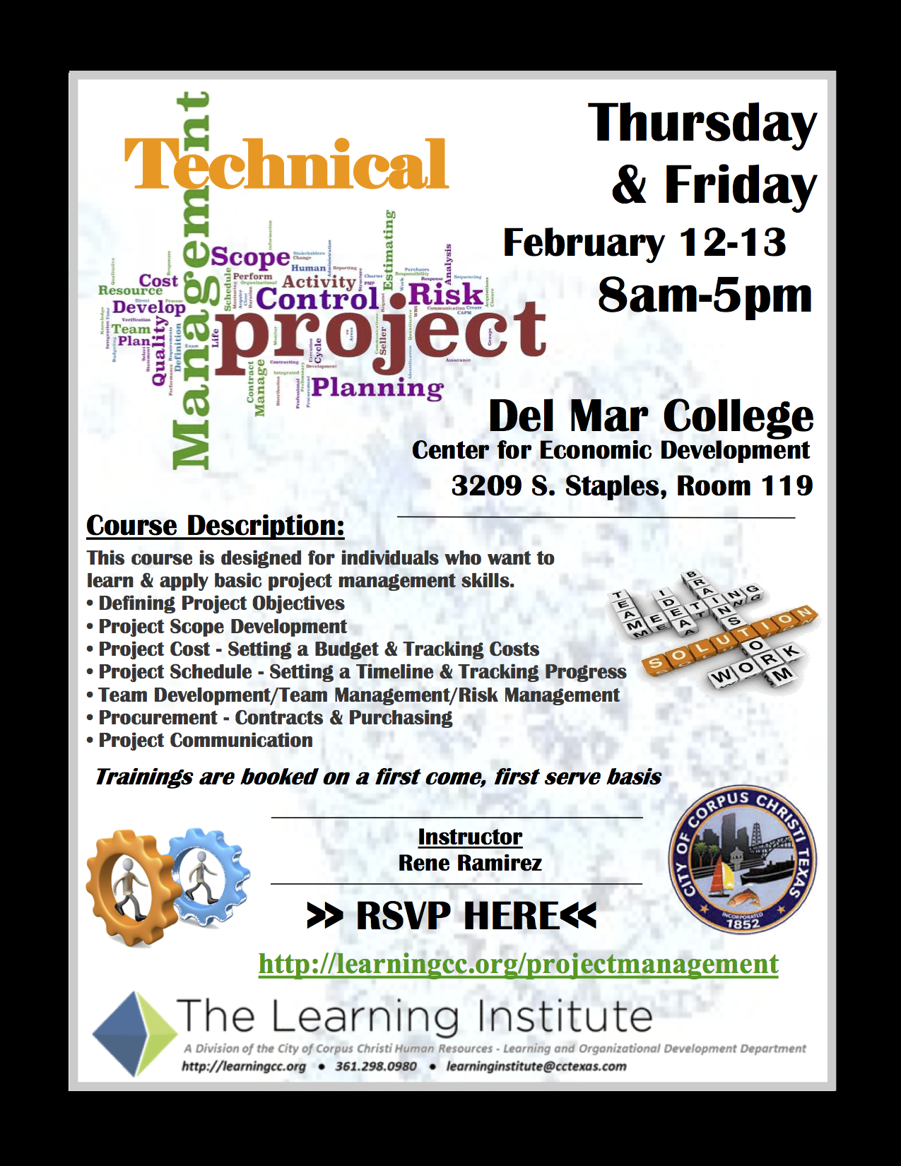 Technical project management course city of corpus christi two day course fill out my online form xflitez Image collections